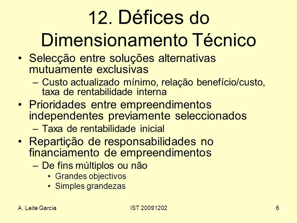A. Leite GarciaIST 200912026 12. Défices do Dimensionamento Técnico Selecção entre soluções alternativas mutuamente exclusivas –Custo actualizado míni