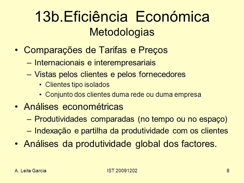A. Leite GarciaIST 200912028 13b.Eficiência Económica Metodologias Comparações de Tarifas e Preços –Internacionais e interempresariais –Vistas pelos c