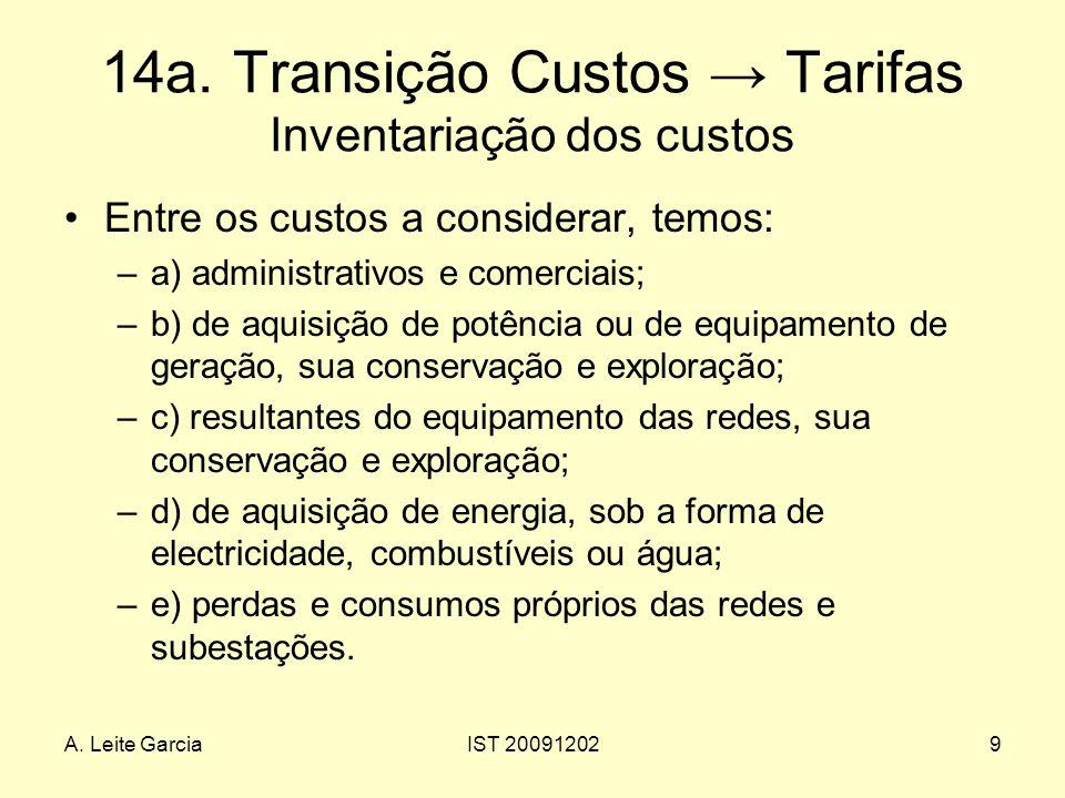 A. Leite GarciaIST 200912029 14a. Transição Custos Tarifas Inventariação dos custos Entre os custos a considerar, temos: –a) administrativos e comerci