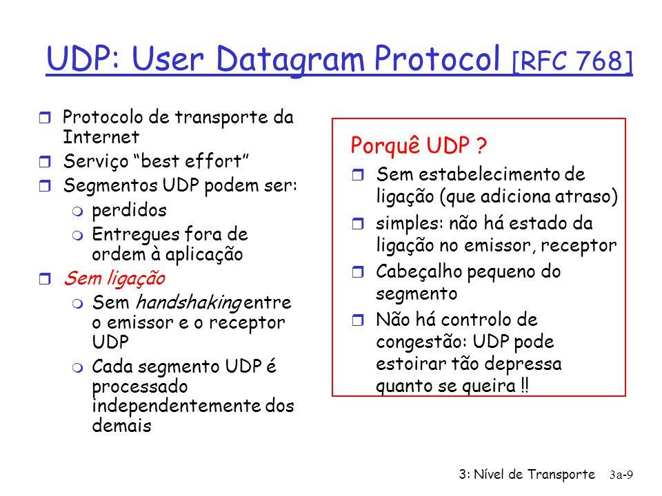3: Nível de Transporte3a-8 Multiplexagem/desmultiplexagem: exemplos Sistema Terminal A Servidor B source port: x dest. port: 23 source port:23 dest. p