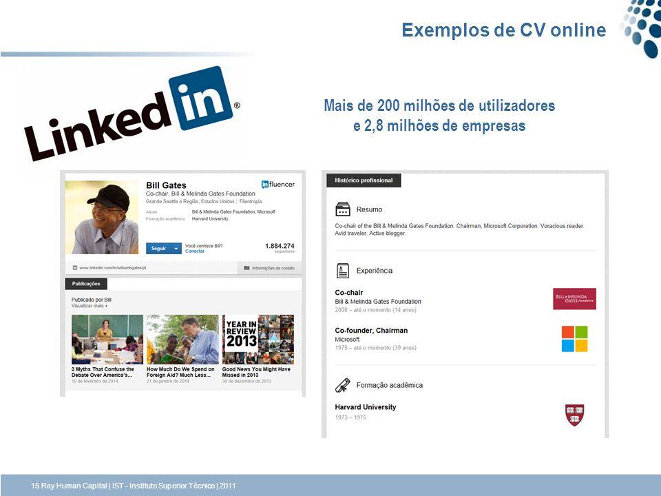 15 Ray Human Capital | IST - Instituto Superior Técnico | 2011 Exemplos de CV online Mais de 200 milhões de utilizadores e 2,8 milhões de empresas