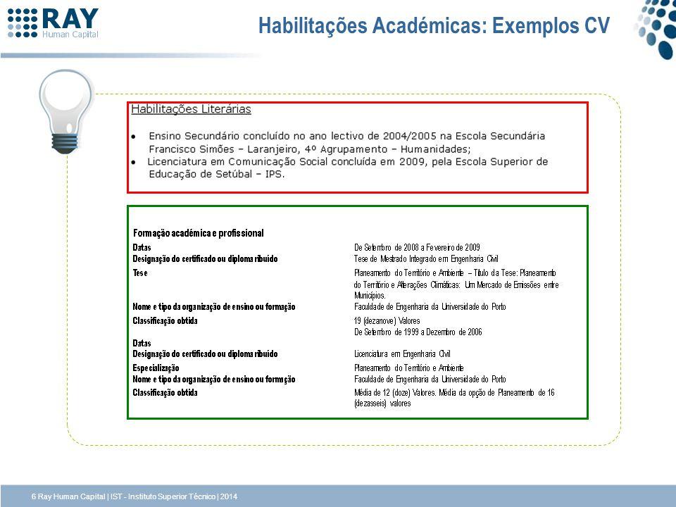6 Ray Human Capital | IST - Instituto Superior Técnico | 2014 Habilitações Académicas: Exemplos CV