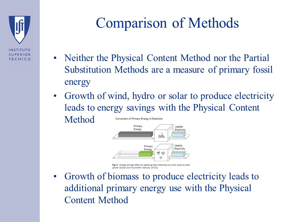Comparison of Methods Neither the Physical Content Method nor the Partial Substitution Methods are a measure of primary fossil energy Growth of wind, hydro or solar to produce electricity leads to energy savings with the Physical Content Method Growth of biomass to produce electricity leads to additional primary energy use with the Physical Content Method