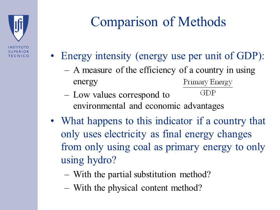 Comparison of Methods Energy intensity (energy use per unit of GDP): –A measure of the efficiency of a country in using energy –Low values correspond to environmental and economic advantages What happens to this indicator if a country that only uses electricity as final energy changes from only using coal as primary energy to only using hydro.