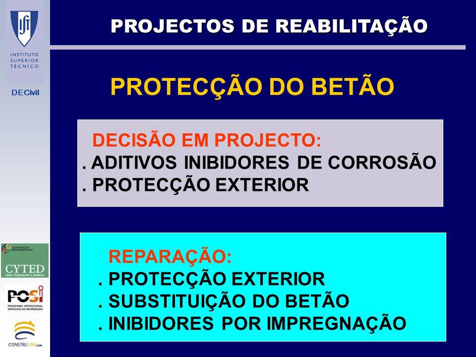 DECivil PROTECÇÃO DO AÇO DECISÃO EM PROJECTO:. GALVANIZAÇÃO. PINTURA EPOXI. AÇO INOX. PREPARAR PARA PROTECÇÃO CATÓDICA. REPARAÇÃO:. PROTECÇÃO CATÓDICA