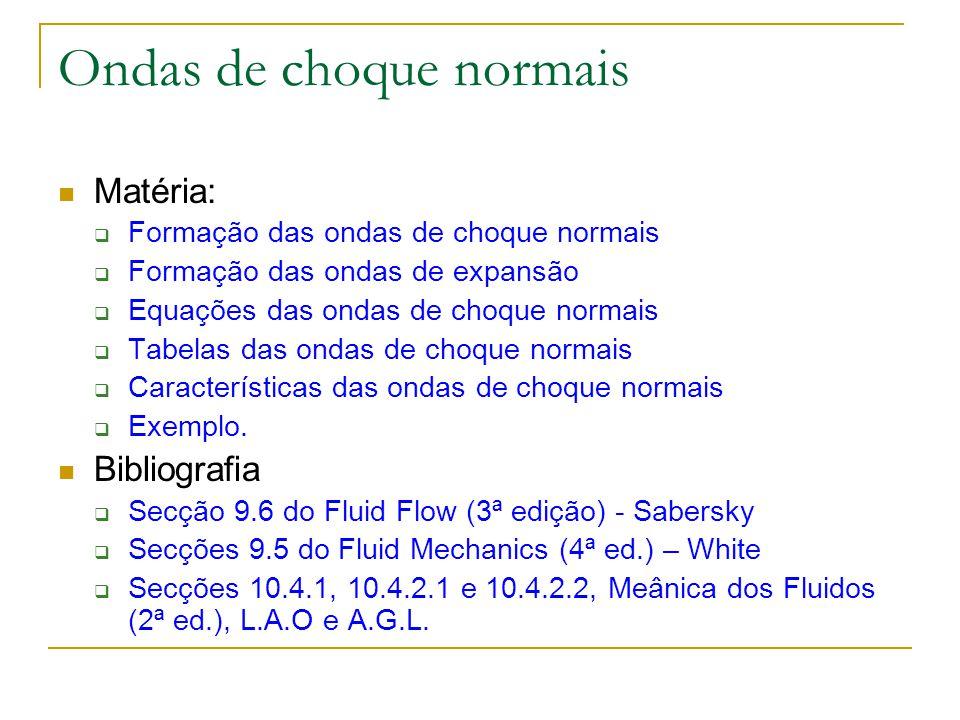 Matéria: Formação das ondas de choque normais Formação das ondas de expansão Equações das ondas de choque normais Tabelas das ondas de choque normais
