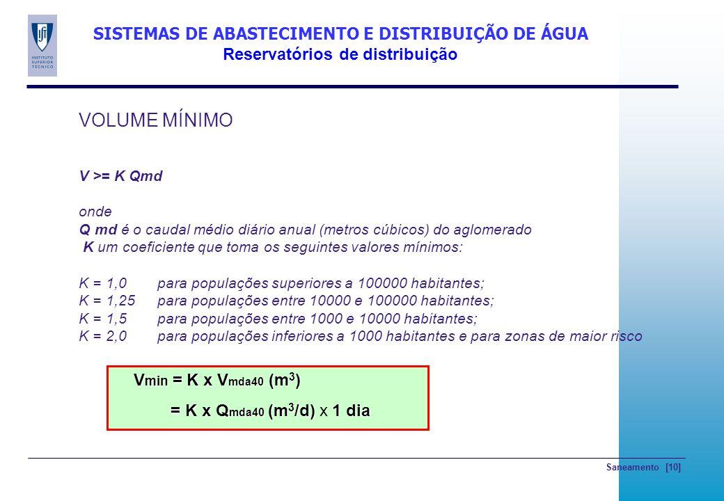 Saneamento [10] SISTEMAS DE ABASTECIMENTO E DISTRIBUIÇÃO DE ÁGUA Reservatórios de distribuição VOLUME MÍNIMO V >= K Qmd onde Q md é o caudal médio diá