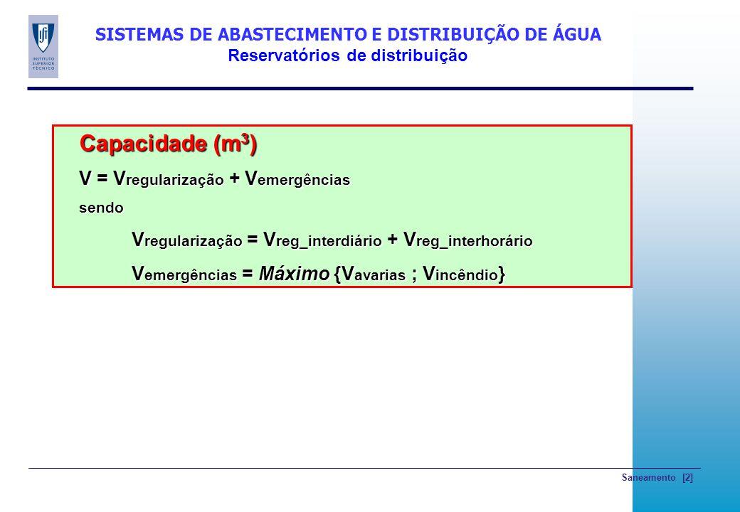 Saneamento [2] SISTEMAS DE ABASTECIMENTO E DISTRIBUIÇÃO DE ÁGUA Reservatórios de distribuição Capacidade (m 3 ) V = V regularização + V emergências se