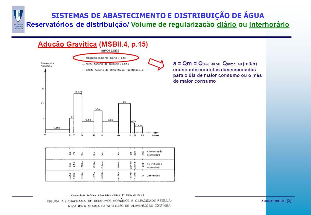 Saneamento [5] SISTEMAS DE ABASTECIMENTO E DISTRIBUIÇÃO DE ÁGUA Reservatórios de distribuição/ Volume de regularização diário ou interhorário Adução G