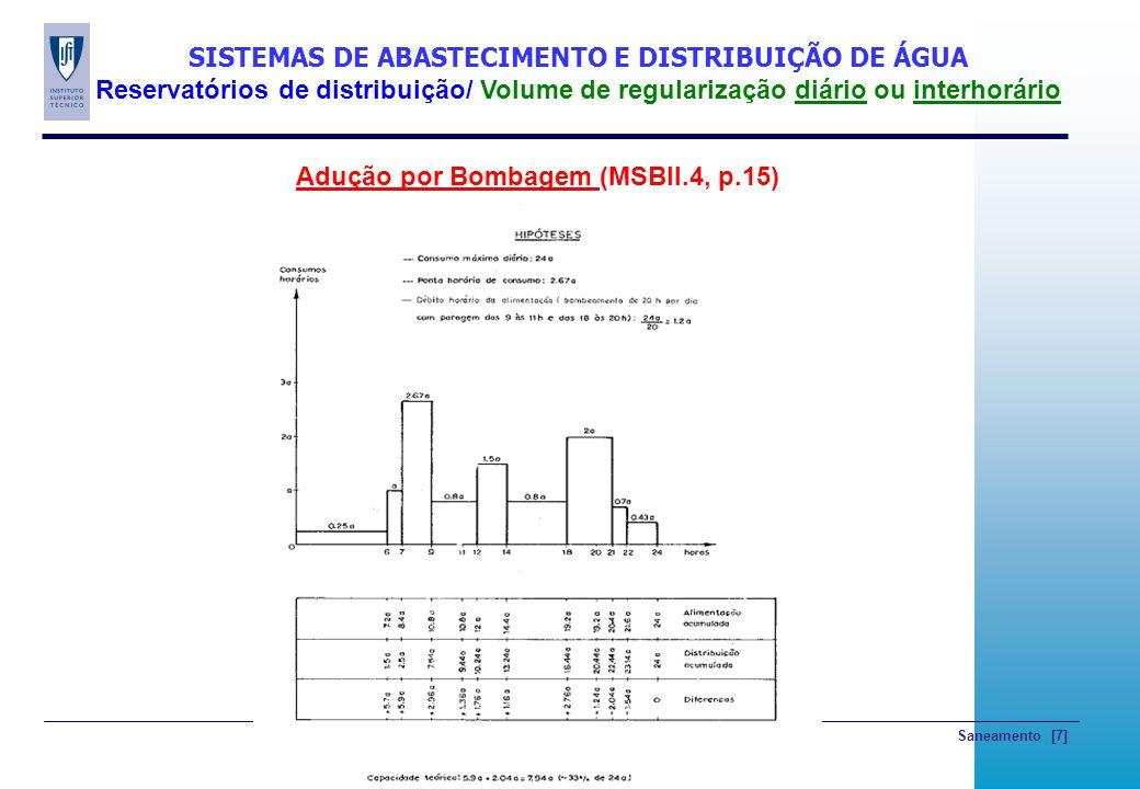 Saneamento [7] SISTEMAS DE ABASTECIMENTO E DISTRIBUIÇÃO DE ÁGUA Reservatórios de distribuição/ Volume de regularização diário ou interhorário Adução p
