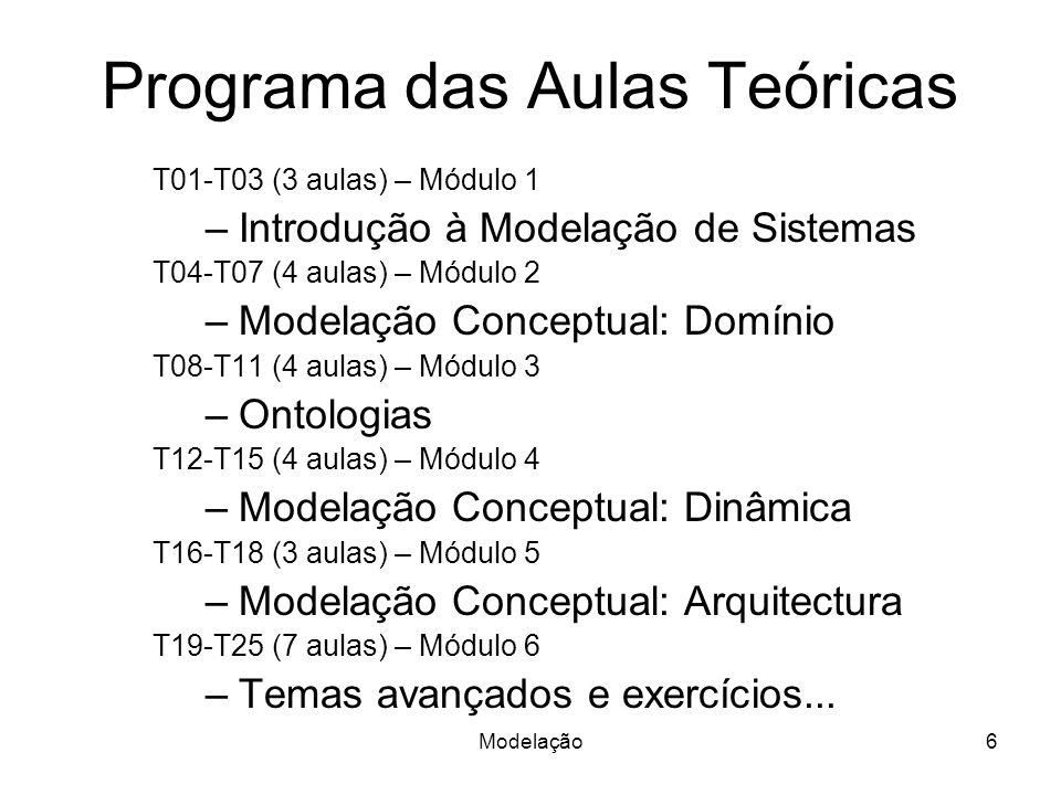 Modelação6 Programa das Aulas Teóricas T01-T03 (3 aulas) – Módulo 1 –Introdução à Modelação de Sistemas T04-T07 (4 aulas) – Módulo 2 –Modelação Conceptual: Domínio T08-T11 (4 aulas) – Módulo 3 –Ontologias T12-T15 (4 aulas) – Módulo 4 –Modelação Conceptual: Dinâmica T16-T18 (3 aulas) – Módulo 5 –Modelação Conceptual: Arquitectura T19-T25 (7 aulas) – Módulo 6 –Temas avançados e exercícios...