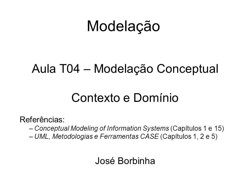 Modelação Aula T04 – Modelação Conceptual Contexto e Domínio Referências: –Conceptual Modeling of Information Systems (Capítulos 1 e 15) –UML, Metodol