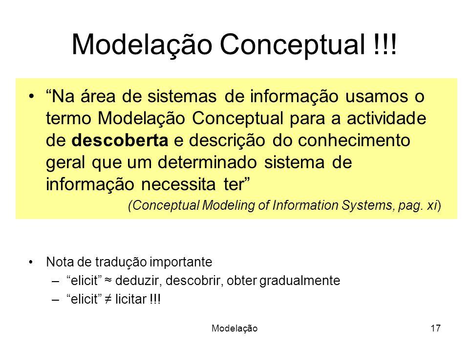 Modelação17 Modelação Conceptual !!! Na área de sistemas de informação usamos o termo Modelação Conceptual para a actividade de descoberta e descrição