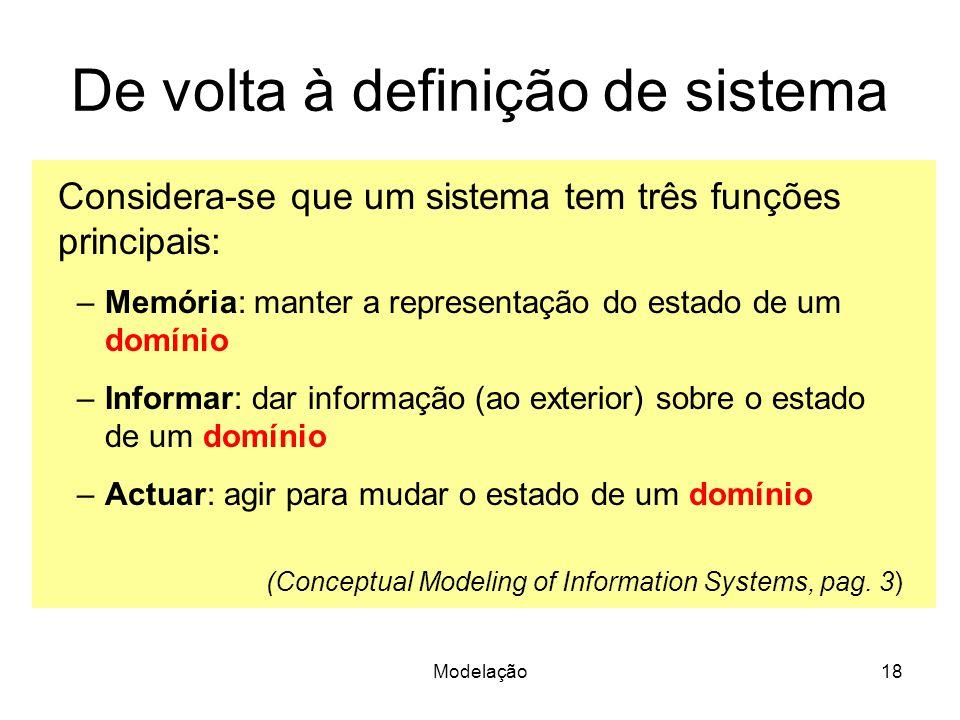 Modelação18 De volta à definição de sistema Considera-se que um sistema tem três funções principais: –Memória: manter a representação do estado de um