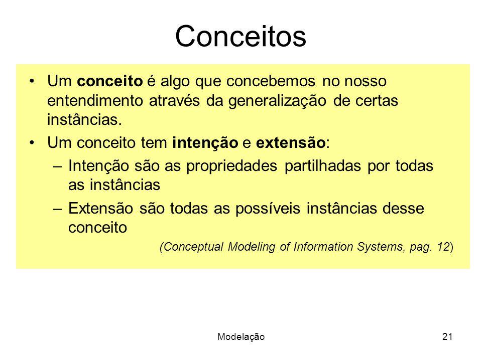 Modelação21 Conceitos Um conceito é algo que concebemos no nosso entendimento através da generalização de certas instâncias. Um conceito tem intenção