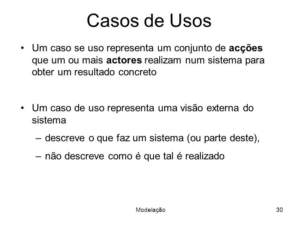 Modelação30 Um caso se uso representa um conjunto de acções que um ou mais actores realizam num sistema para obter um resultado concreto Um caso de us