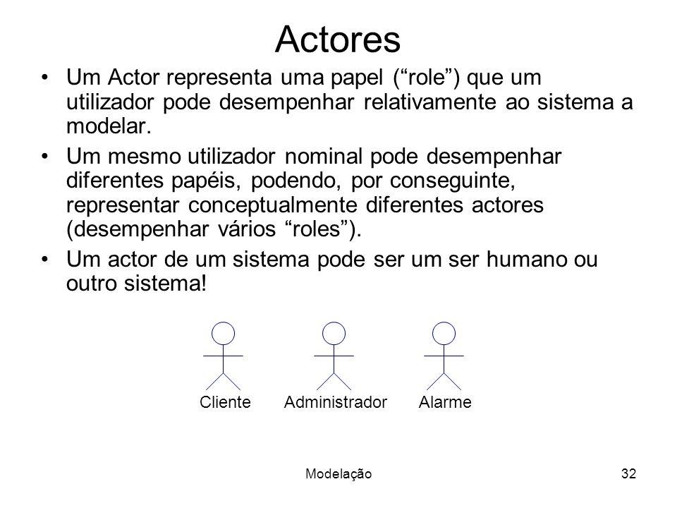 Modelação32 Actores Um Actor representa uma papel (role) que um utilizador pode desempenhar relativamente ao sistema a modelar. Um mesmo utilizador no