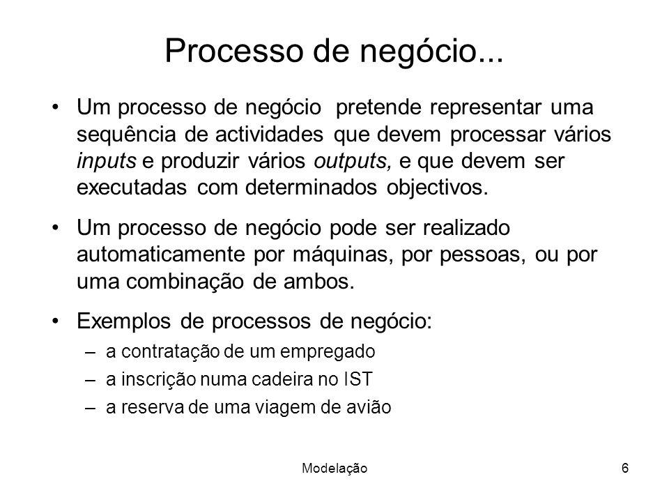 Modelação6 Processo de negócio... Um processo de negócio pretende representar uma sequência de actividades que devem processar vários inputs e produzi