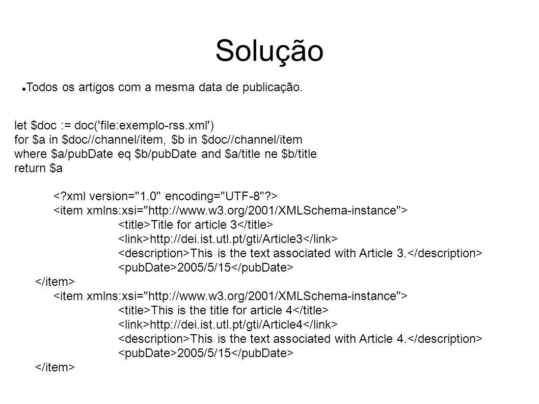 Solução Todos os artigos com a mesma data de publicação.