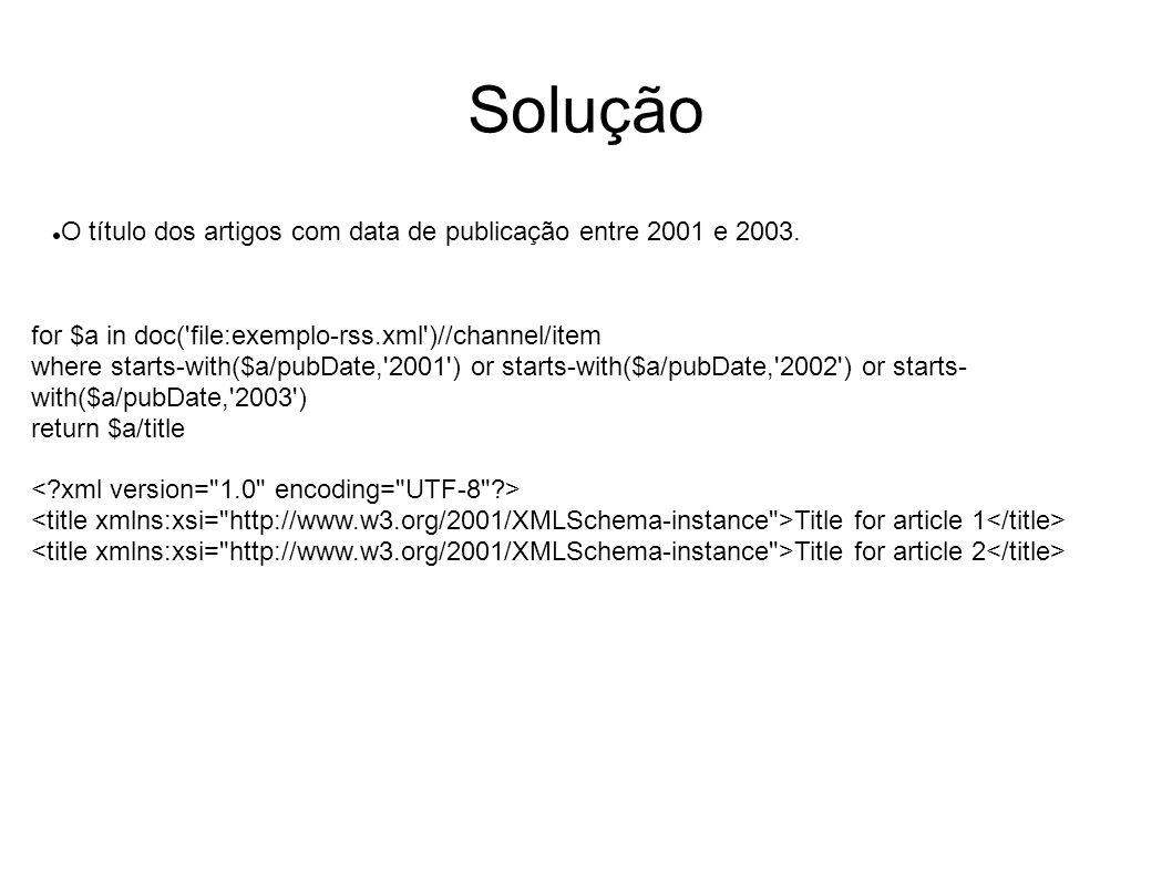 Solução O título dos artigos com data de publicação entre 2001 e 2003.
