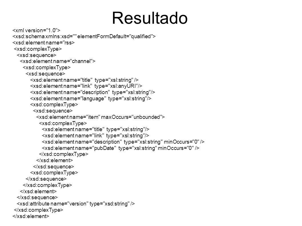 Exercício 2 Explique nas suas palavras a lógica subjacente e indique o resultado, em termos de um documento XML, das seguintes expressões XQuery quando avaliadas sob o documento RSS da Figura 1.