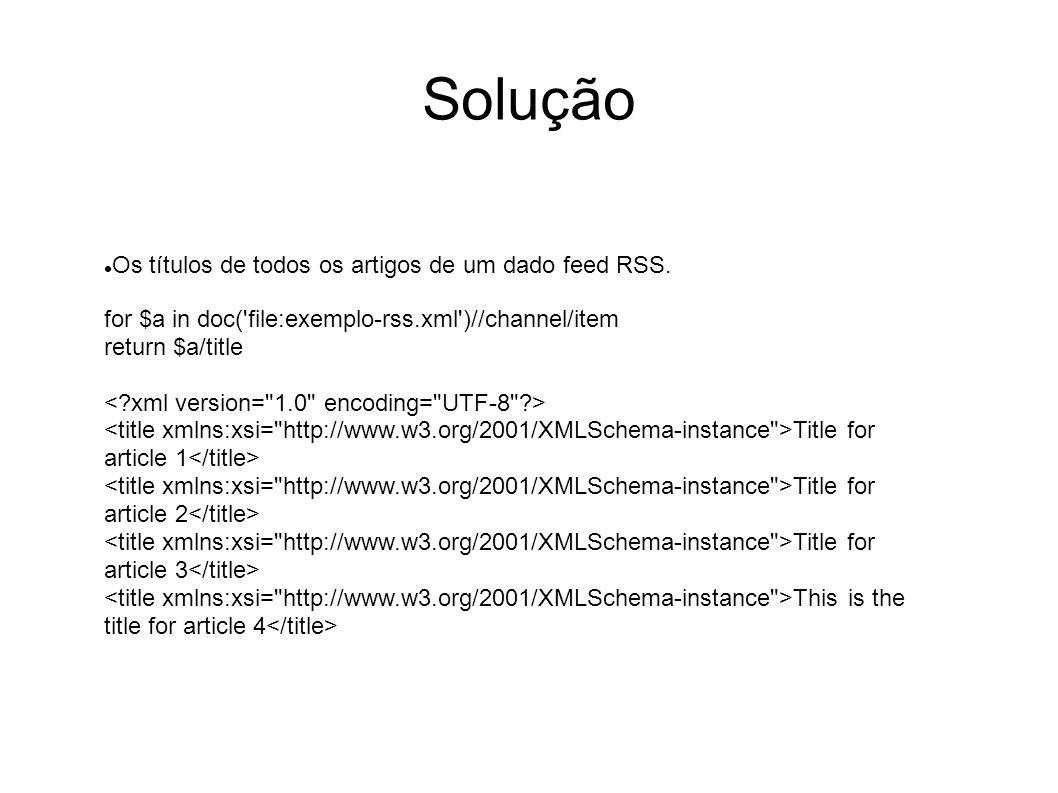 Solução Os títulos de todos os artigos de um dado feed RSS.