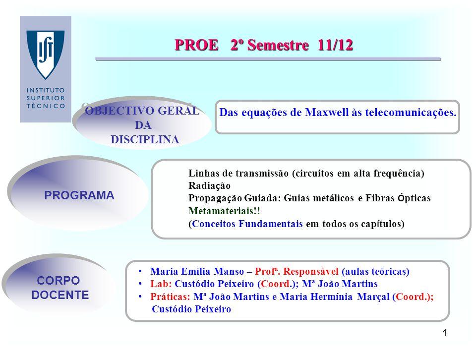 2 PROE - PROE - OBJECTIVOS DA DISCIPLINA A matéria de PROE trata de ondas electromagnéticas e da sua aplicação em domínios actuais da engenharia de telecomunicações, radares e redes de computadores.