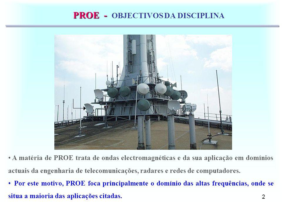 2 PROE - PROE - OBJECTIVOS DA DISCIPLINA A matéria de PROE trata de ondas electromagnéticas e da sua aplicação em domínios actuais da engenharia de te
