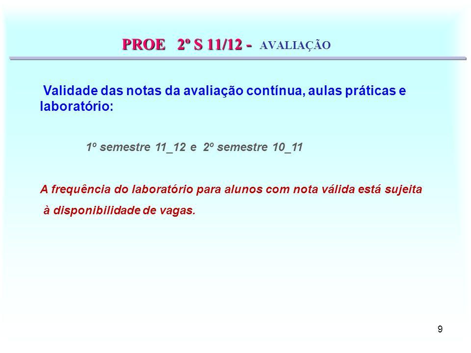 10 PROE 1º S 11/12 - PROE 1º S 11/12 - AVALIAÇÃO a.