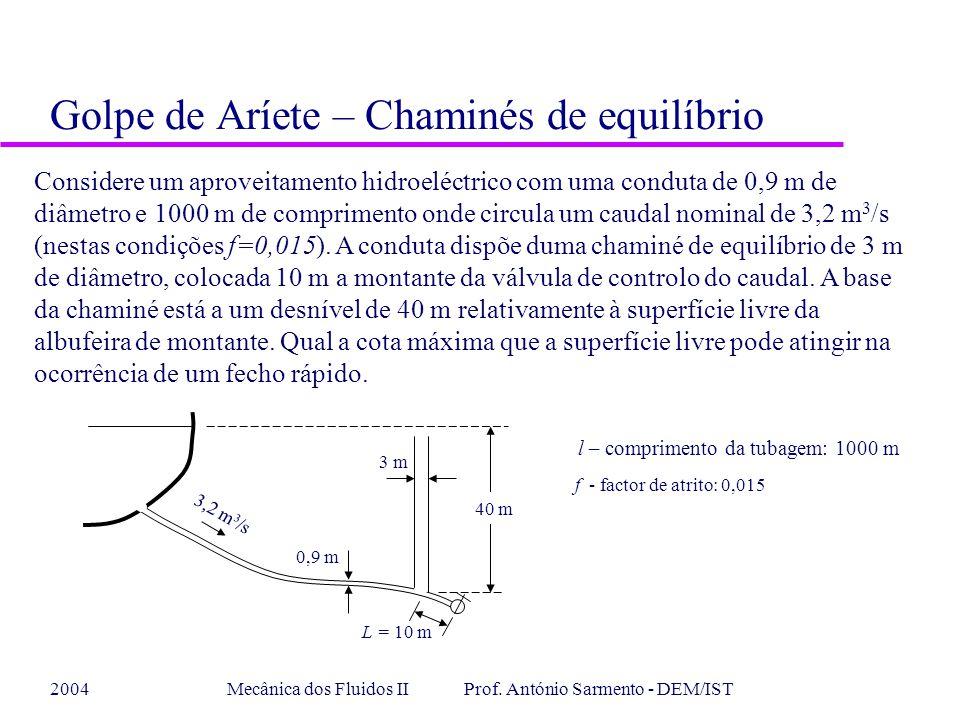 2004Mecânica dos Fluidos II Prof. António Sarmento - DEM/IST Golpe de Aríete – Chaminés de equilíbrio Considere um aproveitamento hidroeléctrico com u