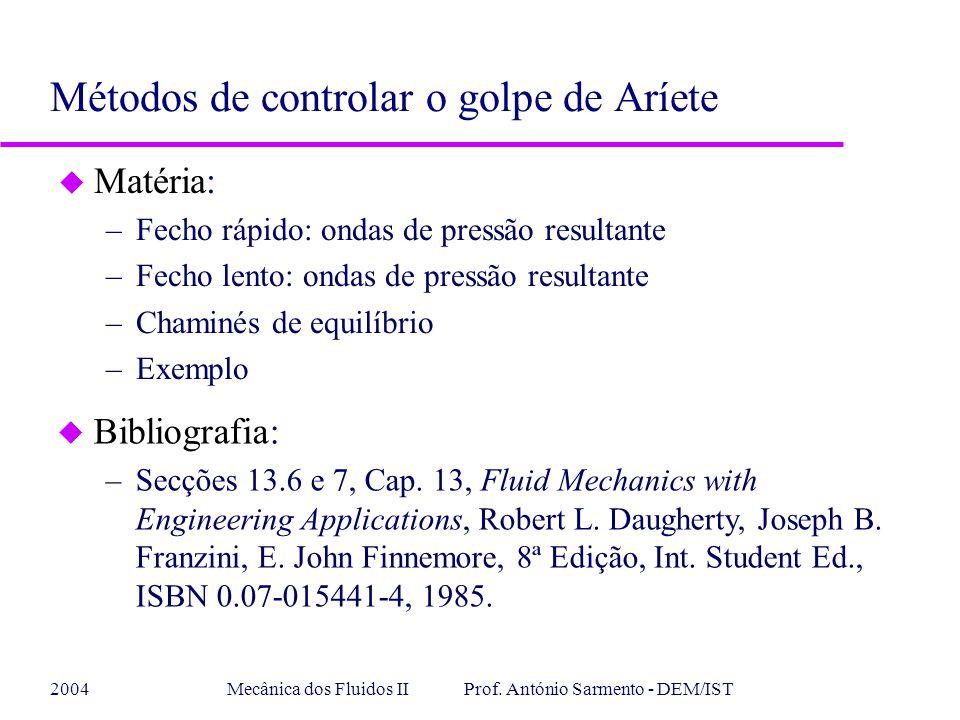 2004Mecânica dos Fluidos II Prof. António Sarmento - DEM/IST u Matéria: –Fecho rápido: ondas de pressão resultante –Fecho lento: ondas de pressão resu