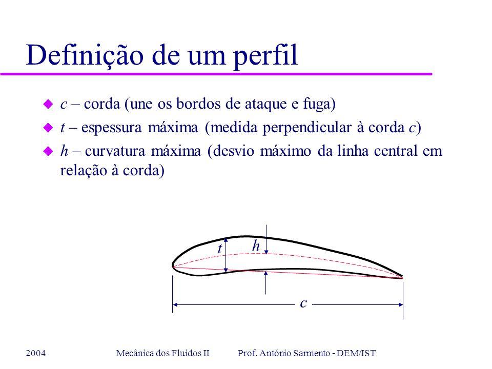 2004Mecânica dos Fluidos II Prof. António Sarmento - DEM/IST Definição de um perfil u c – corda (une os bordos de ataque e fuga) u t – espessura máxim