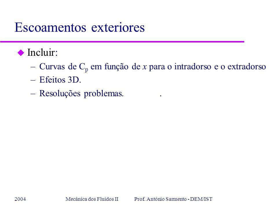 2004Mecânica dos Fluidos II Prof. António Sarmento - DEM/IST u Incluir: –Curvas de C p em função de x para o intradorso e o extradorso –Efeitos 3D. –R