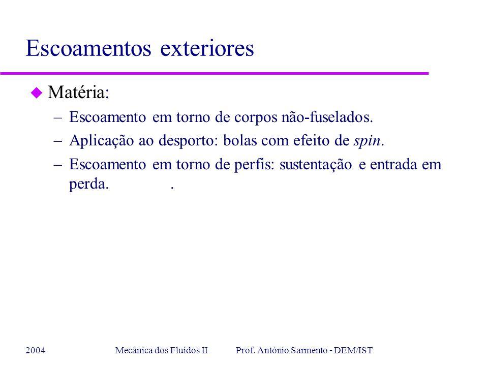 2004Mecânica dos Fluidos II Prof. António Sarmento - DEM/IST u Matéria: –Escoamento em torno de corpos não-fuselados. –Aplicação ao desporto: bolas co