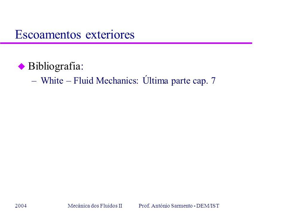2004Mecânica dos Fluidos II Prof. António Sarmento - DEM/IST u Bibliografia: –White – Fluid Mechanics: Última parte cap. 7 Escoamentos exteriores
