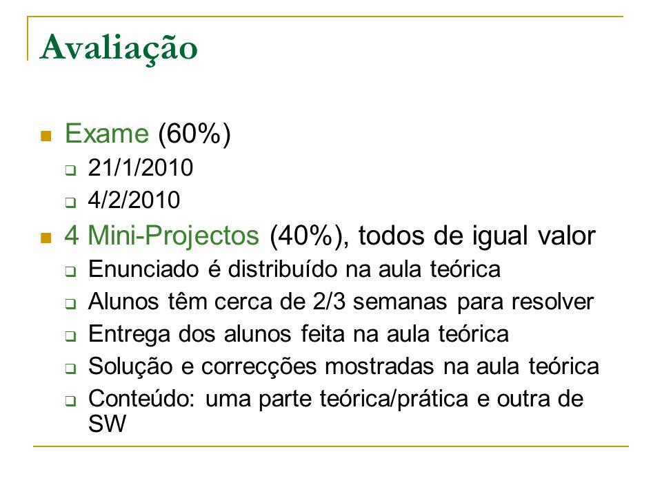 Avaliação Exame (60%) 21/1/2010 4/2/2010 4 Mini-Projectos (40%), todos de igual valor Enunciado é distribuído na aula teórica Alunos têm cerca de 2/3
