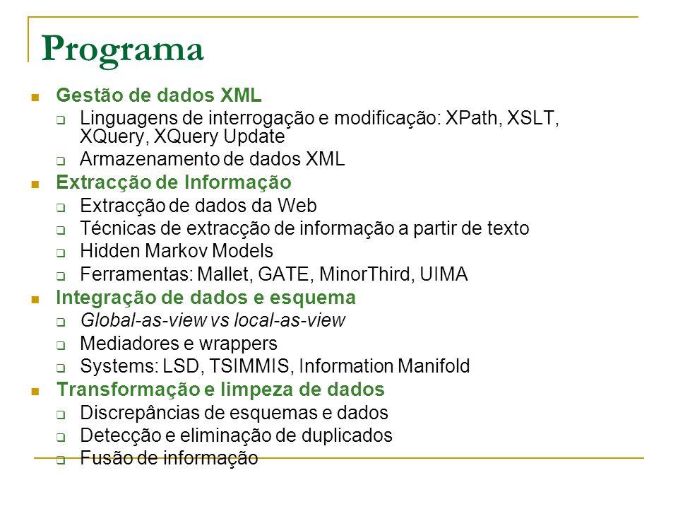 Programa Gestão de dados XML Linguagens de interrogação e modificação: XPath, XSLT, XQuery, XQuery Update Armazenamento de dados XML Extracção de Informação Extracção de dados da Web Técnicas de extracção de informação a partir de texto Hidden Markov Models Ferramentas: Mallet, GATE, MinorThird, UIMA Integração de dados e esquema Global-as-view vs local-as-view Mediadores e wrappers Systems: LSD, TSIMMIS, Information Manifold Transformação e limpeza de dados Discrepâncias de esquemas e dados Detecção e eliminação de duplicados Fusão de informação