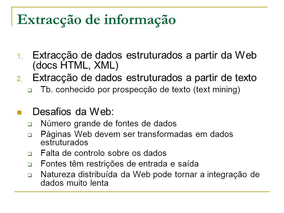 Extracção de informação 1. Extracção de dados estruturados a partir da Web (docs HTML, XML) 2. Extracção de dados estruturados a partir de texto Tb. c