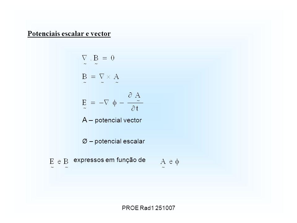 Potenciais escalar e vector A – potencial vector Ø – potencial escalar expressos em função de