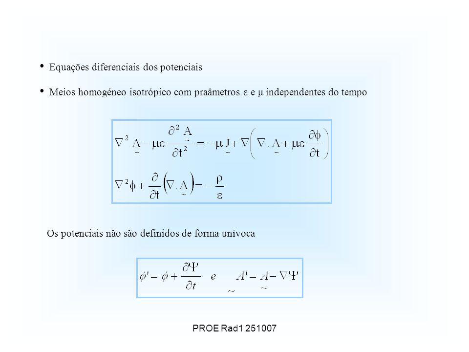 PROE Rad1 251007 Equações diferenciais dos potenciais Meios homogéneo isotrópico com praâmetros ε e μ independentes do tempo Os potenciais não são definidos de forma unívoca