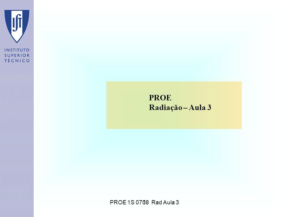 1 PROE Radiação – Aula 3 PROE 1S 0708 Rad Aula 3
