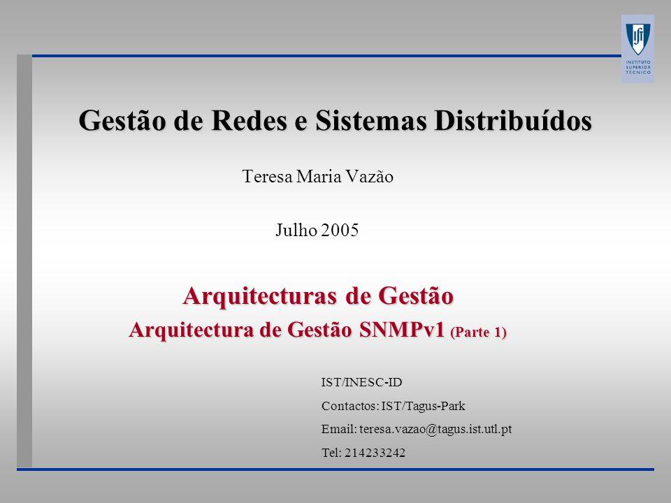 Gestão de Redes e Sistemas Distribuídos Teresa Maria Vazão Julho 2005 Arquitecturas de Gestão Arquitectura de Gestão SNMPv1 (Parte 1) IST/INESC-ID Con