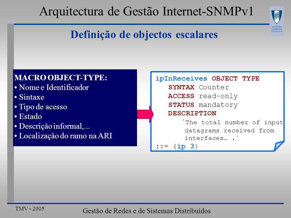 TMV - 2005 Gestão de Redes e de Sistemas Distribuídos Definição de objectos escalares MACRO OBJECT-TYPE: Nome e Identificador Sintaxe Tipo de acesso E