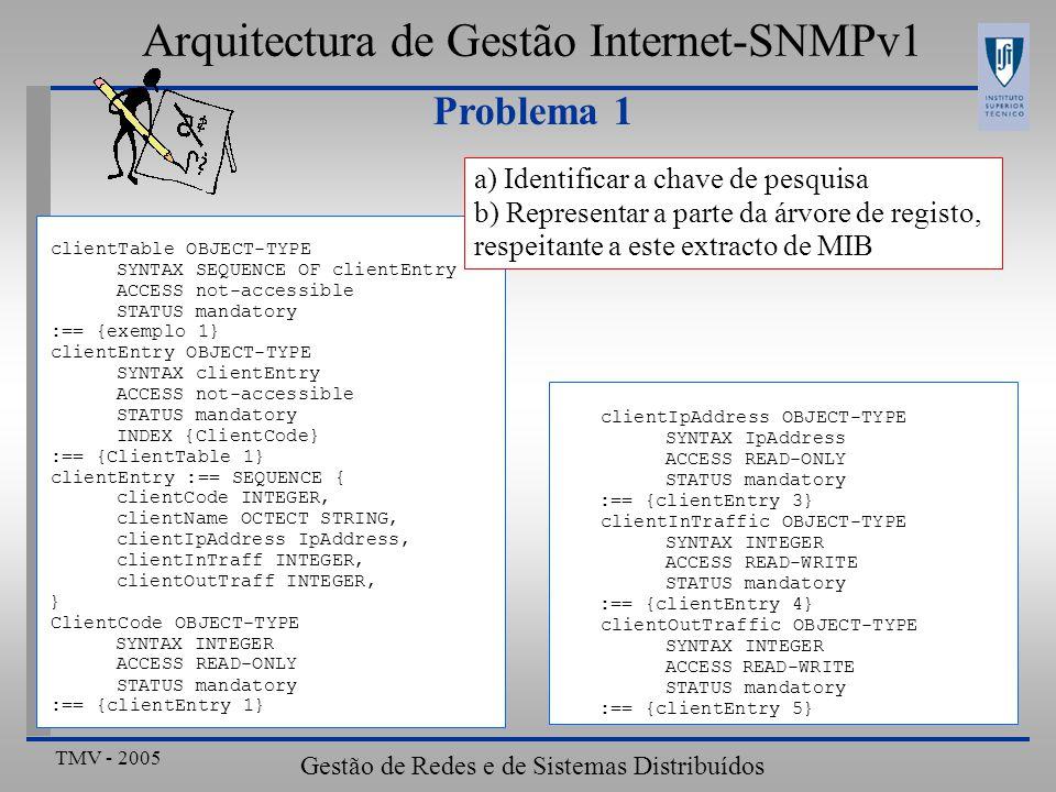 TMV - 2005 Gestão de Redes e de Sistemas Distribuídos Problema 1 Arquitectura de Gestão Internet-SNMPv1 clientTable OBJECT-TYPE SYNTAX SEQUENCE OF clientEntry ACCESS not-accessible STATUS mandatory :== {exemplo 1} clientEntry OBJECT-TYPE SYNTAX clientEntry ACCESS not-accessible STATUS mandatory INDEX {ClientCode} :== {ClientTable 1} clientEntry :== SEQUENCE { clientCode INTEGER, clientName OCTECT STRING, clientIpAddress IpAddress, clientInTraff INTEGER, clientOutTraff INTEGER, } ClientCode OBJECT-TYPE SYNTAX INTEGER ACCESS READ-ONLY STATUS mandatory :== {clientEntry 1} clientIpAddress OBJECT-TYPE SYNTAX IpAddress ACCESS READ-ONLY STATUS mandatory :== {clientEntry 3} clientInTraffic OBJECT-TYPE SYNTAX INTEGER ACCESS READ-WRITE STATUS mandatory :== {clientEntry 4} clientOutTraffic OBJECT-TYPE SYNTAX INTEGER ACCESSREAD-WRITE STATUS mandatory :== {clientEntry 5} a) Identificar a chave de pesquisa b) Representar a parte da árvore de registo, respeitante a este extracto de MIB