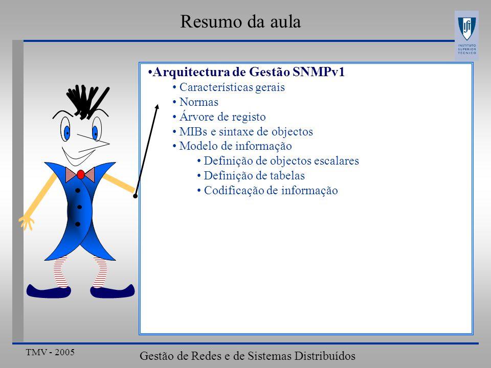 TMV - 2005 Gestão de Redes e de Sistemas Distribuídos Resumo da aula Arquitectura de Gestão SNMPv1 Características gerais Normas Árvore de registo MIB