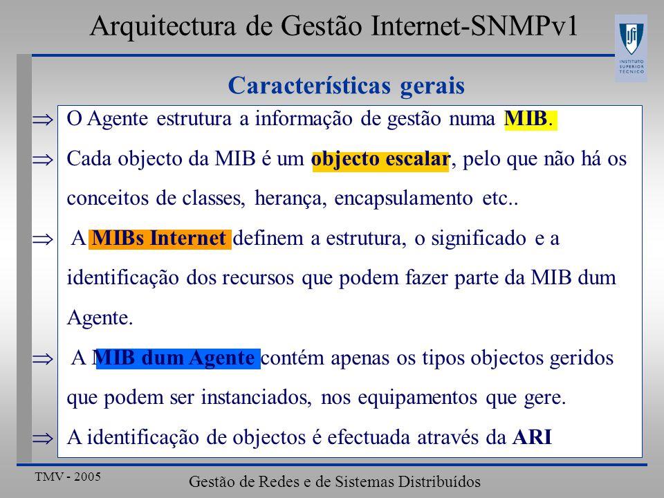 TMV - 2005 Gestão de Redes e de Sistemas Distribuídos Definição de tabelas: ipRouteTable ipRouteTableOBJECT-TYPE SYNTAX SEQUENCE OF IpRouteEntry ACCESS not-accessible STATUS mandatory DESCRIPTION > ::= { ip 21} IpRouteEntry OBJECT-TYPE SYNTAX IpRouteEntry ACCESS not-accessible STATUS mandatory DESCRIPTION > INDEX{ipRouteDest } ::= { ipRouteTable 1} IpRouteEntry ::= SEQUENCE { ipRouteDest IpAddress,...