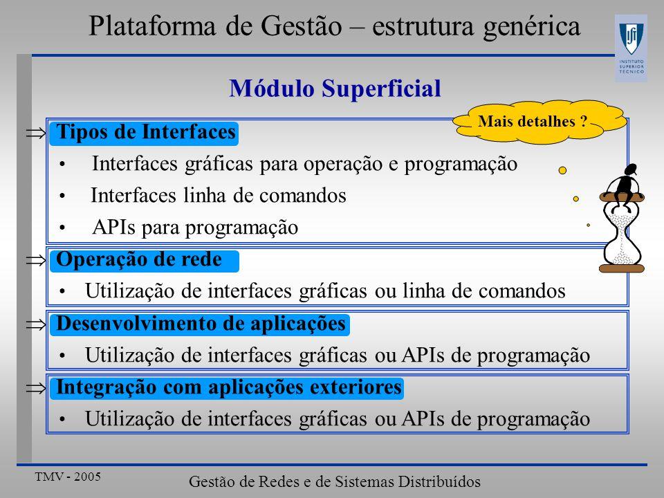 TMV - 2005 Gestão de Redes e de Sistemas Distribuídos Plataforma de Gestão