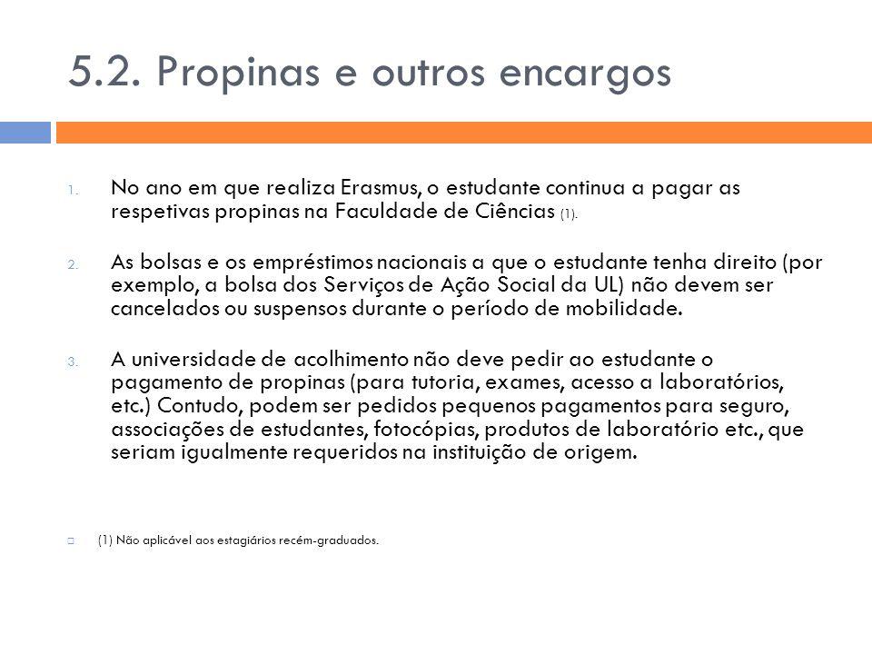 5.2. Propinas e outros encargos 1. No ano em que realiza Erasmus, o estudante continua a pagar as respetivas propinas na Faculdade de Ciências (1). 2.