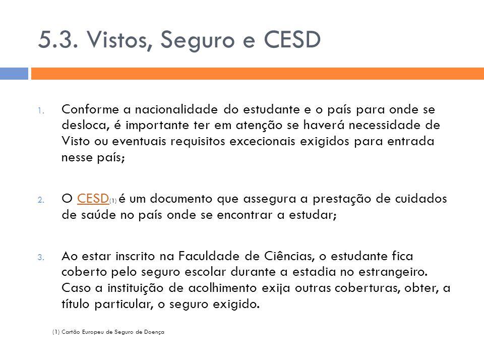 5.3. Vistos, Seguro e CESD 1. Conforme a nacionalidade do estudante e o país para onde se desloca, é importante ter em atenção se haverá necessidade d
