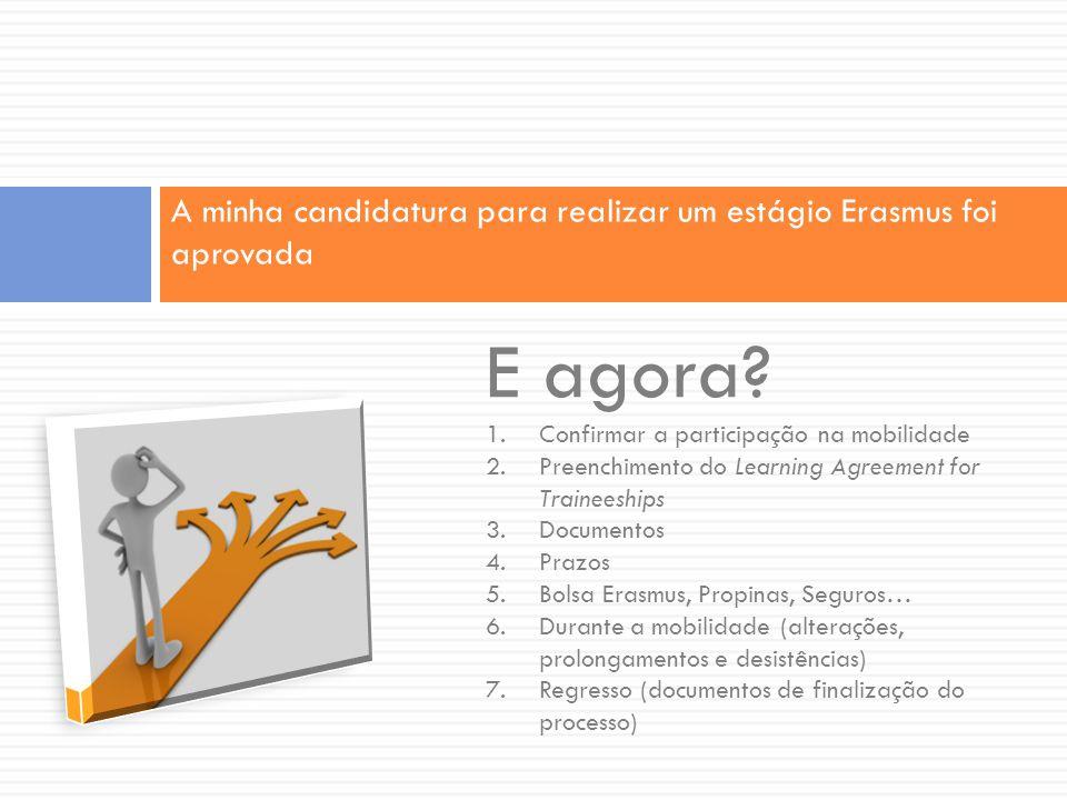 A minha candidatura para realizar um estágio Erasmus foi aprovada E agora? 1.Confirmar a participação na mobilidade 2.Preenchimento do Learning Agreem